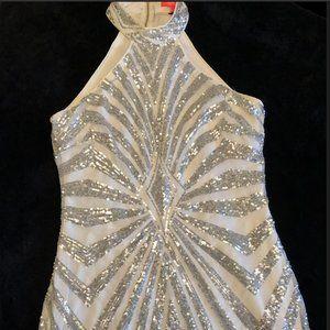 Xtaren Silver Sequin Mesh Halter Neck Dress